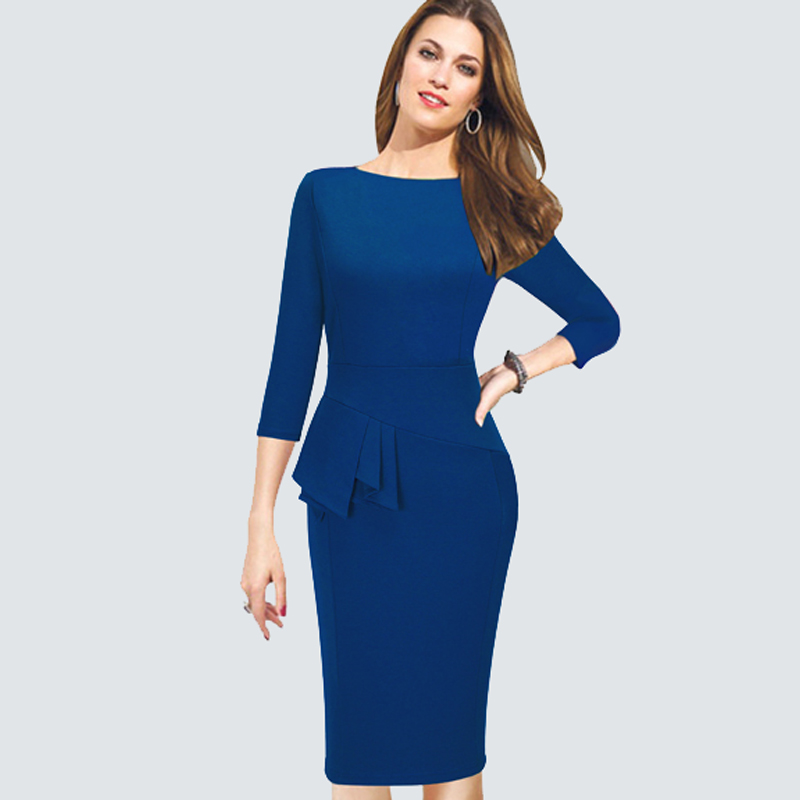 Elegant Women Work Wear Business Dress Plus Size Three Quarter Sleeve Slim Fitted Bodycon Casual Office Peplum Ladies Dress B228