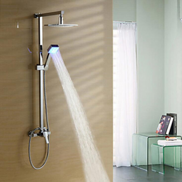 Copper rainfall shower faucet set, Bathroom shower faucet mixer wall mounted, Fashion brass shower faucet LED lamp shower head
