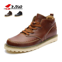 Italian Genuine Leather Boots Men Brown Oxford Fashion Solid Color High Top Quality Lace Up Flat