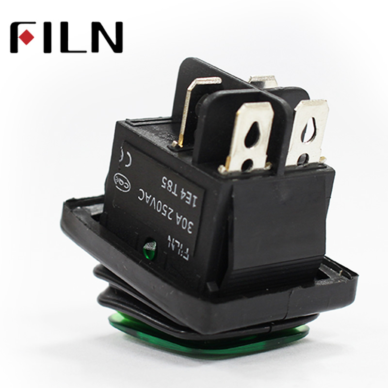 50pcs kcd4 heavy duty waterproof on off sliver contact point copper pin green red led lamp 220v 30A rocker switch