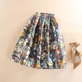 Womens Midi Skirt High Waist Tutu Skater Skirt Spring Summer Autumn Vintage Portraits Printed Ball Gown Pleated Skirts Plissada
