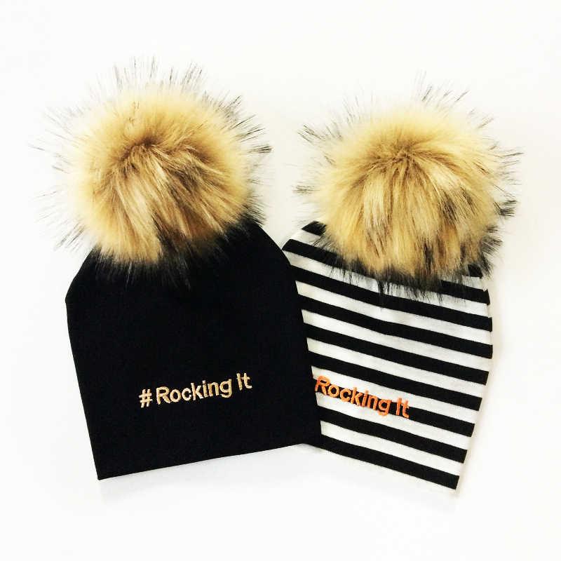 เด็กหมวกโยก It Embroidery เด็ก Pompom หมวกสำหรับหญิงและชายผ้าฝ้ายฤดูหนาวเด็กหมวกเด็กหมวกหมวก