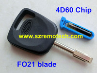 Replacement Transponder Key With Virgin Chip 4D60 For Fiesta Mondeo Focus Transit FO21 Blade
