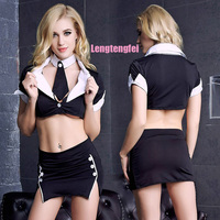New 2016 Ladies Backless Costume Game Uniform Office Secretary Suit Sexy Lingerie Dress Set Sexy Lingerie