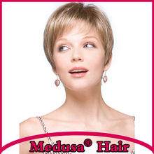 Medusa hair products: Chic pixie cut styles Synthetic pastel wigs Short straight Mix color wig with bangs Peruca curta SW0137C
