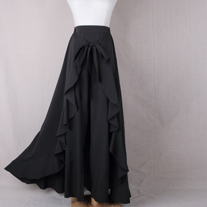 Lace Up Bow Tie Ruffles Feminine Women Pant Skirt 2019 Summer Solid High Waist Elegant Female Long Loose Wide Leg Fashion Buttom