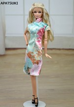 Chinese Traditional Dress Qipao Vestido Dress For Barbie Doll Clothes Cheongsam Flower Unique Evening Dresses(China)