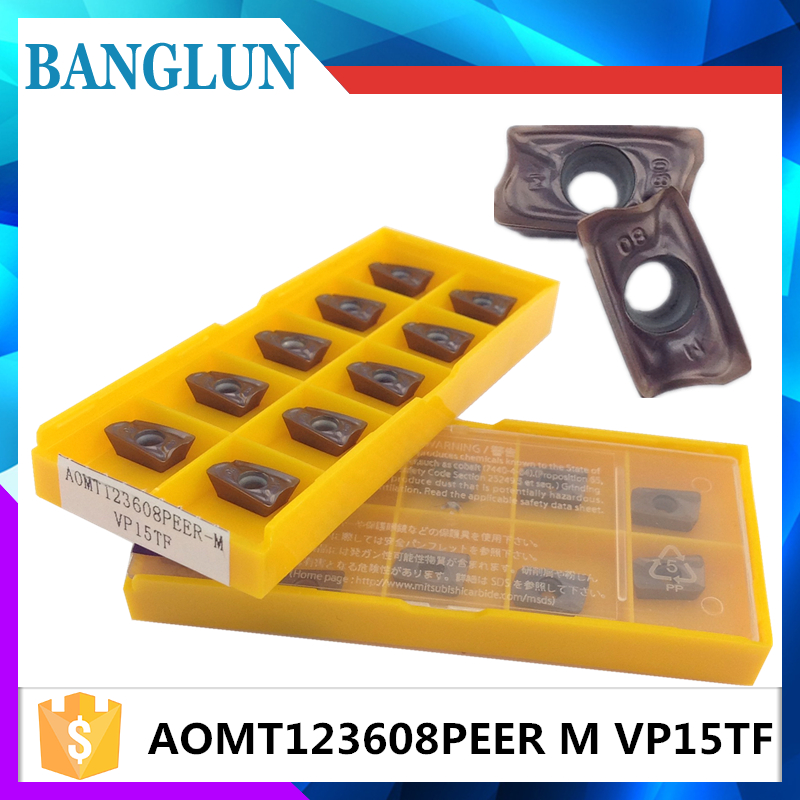 AOMT123608PEER M VP15TF 20PCS carbide milling inserts indexable end milling cutter machine face milling cutting tools AOMT123608 indexable internal threading inserts carbide inserts 16ir ag60 lathe cutter for thread turning