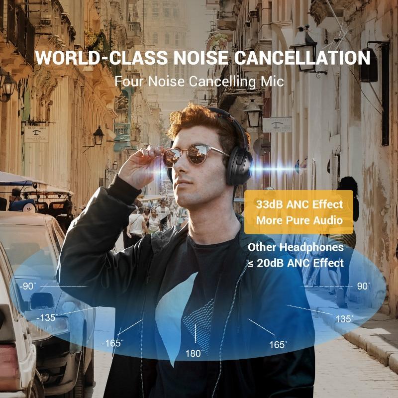 Oneodio A9 Bluetooth наушники с активным шумоподавлением Беспроводная гарнитура складные Hifi наушники для путешествий и музыки - 5
