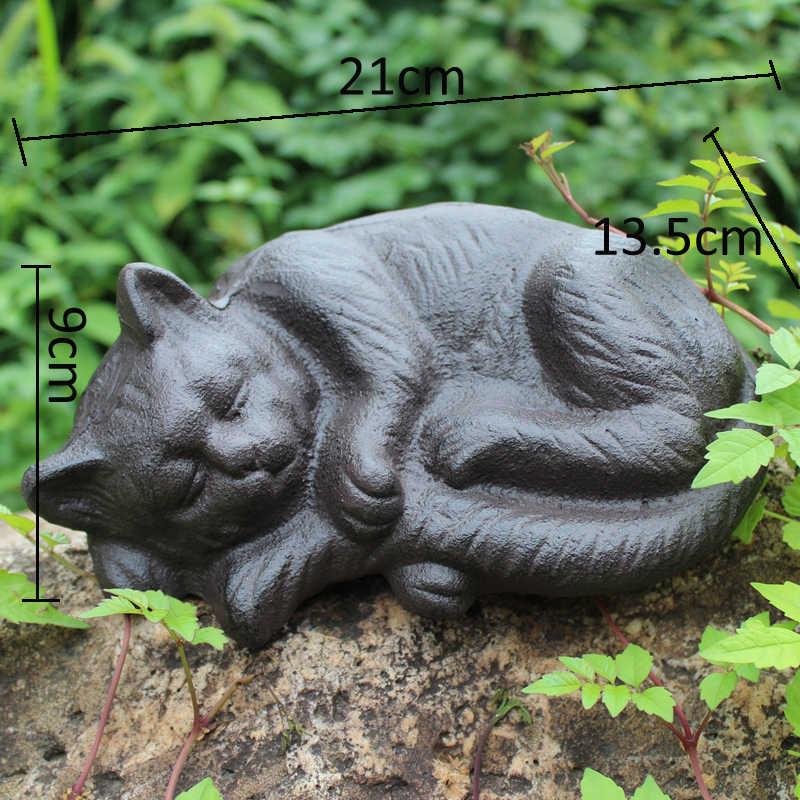 W stylu Vintage obsada żelaza śpiący kot statua domu ogród blat wystrój figurki zwierząt