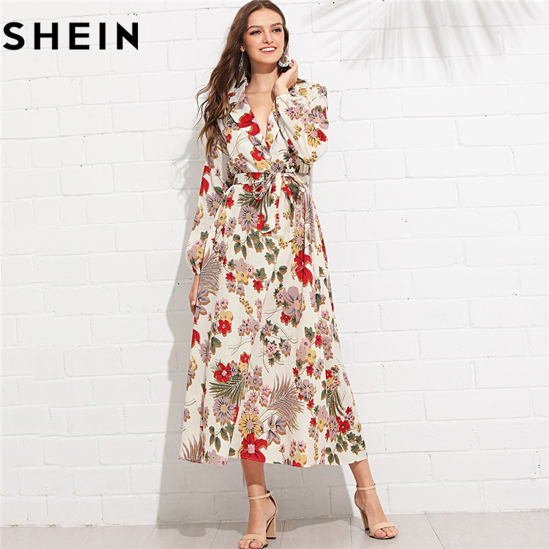 a528a1d626 SHEIN Womens Boho Floral Print Lantern Sleeve V Neck Belted Maxi Dress 2018  Bohemian Beach Vacation Surplice Wrap long Dresses