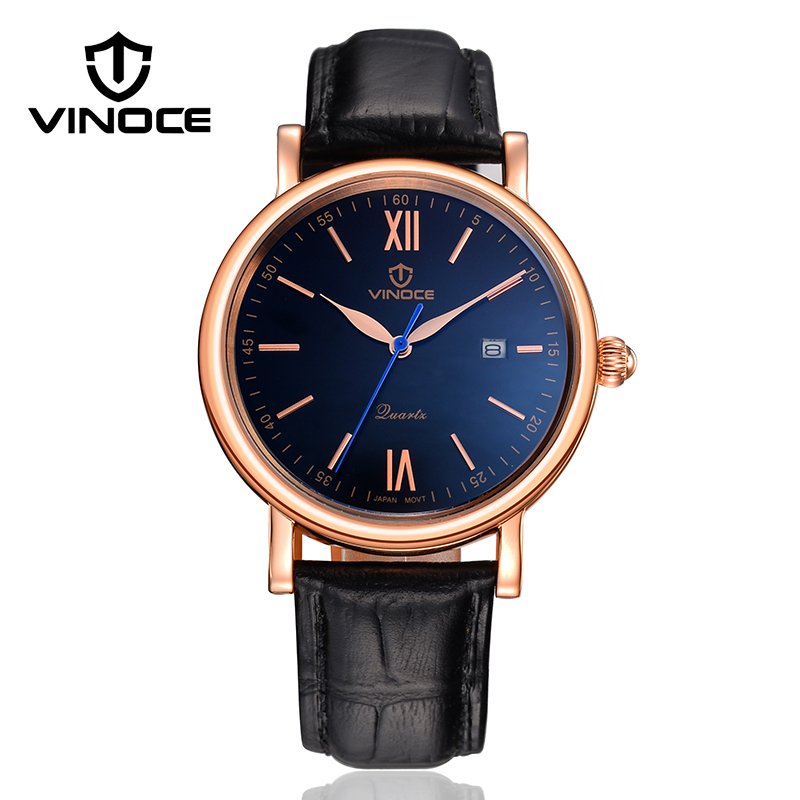 2017 VINOCE Top Brand Luxury Classic Quartz Watch Men Relogio Masculino Business Mens Wristwatches Calendar Montre Homme V8388G