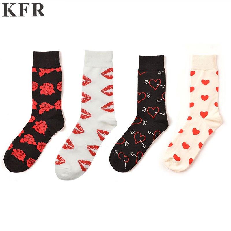 Mens Rose Lips Heart Socks Funny Cotton Happy Socks European USA Skateboard Hip Hop Street Crew Harajuku Art Fashion Short Socks