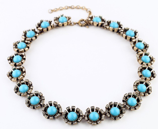 Artilady antic gold new big choker necklace fashion turquoise vintage crystal bracelet necklace set  sales for free shipping