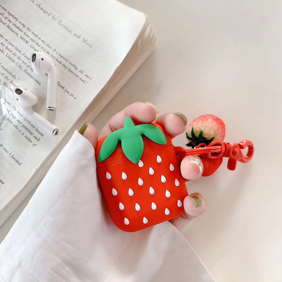 Image 2 - For AirPods Case 3D Cute Fruit Strawberry Pineapple Avocado Pizza Earphone Cases For Apple Airpods 2 Protect Cover with Pendant-in Earphone Accessories from Consumer Electronics