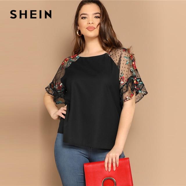 SHEIN Plus Size Black Flower Embroidery Mesh Sleeve Top Blouse Women Summer Elegant Short Sleeve Sheer Solid Round Neck Blouses 3