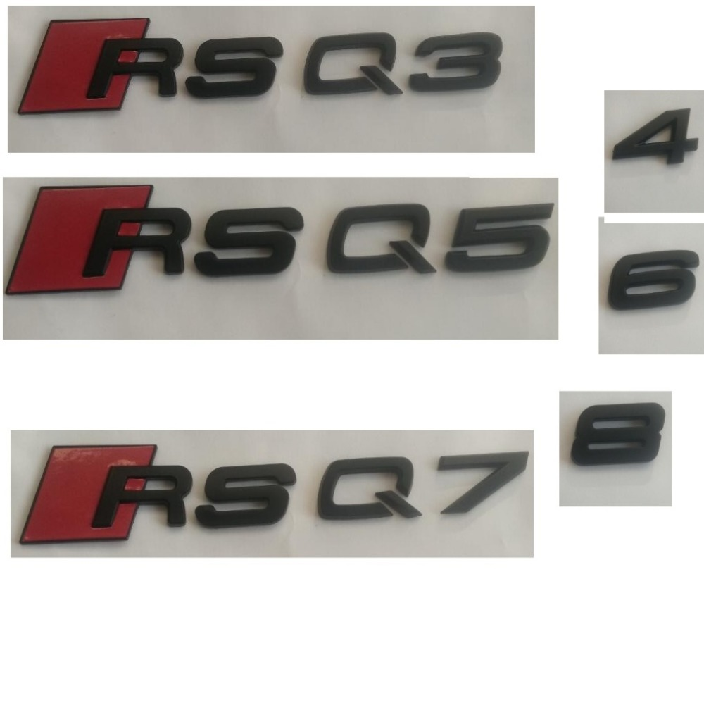 Matte Black ABS Plastic Trunk Number Letters Badge Emblem Emblems Sticker for Audi RS3 RS4 RS5 RS6 RS7 RSQ3 RSQ5 RSQ7 R8