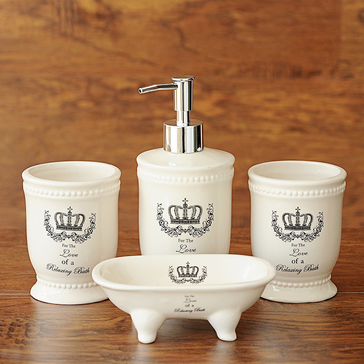 Ceramic Crown Bathroom Accessories Four piece Set Zakka British Style Bathroom Products Set Home Decor