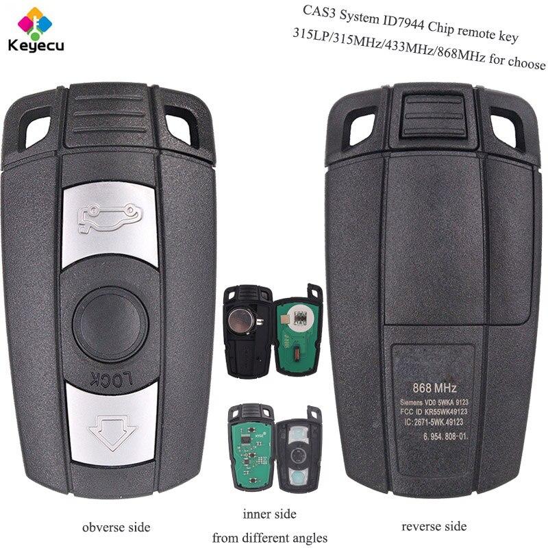 KEYECU Remplacement CAS3 Système À Distance Clé-3 Boutons 315 mhz/433 mhz/868 mhz/315LP Avec ID7944 Puce pour BMW 1 3 5 6 7 Série