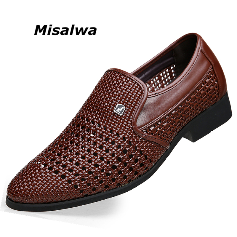 72bb07617a9d52 Misalwa Pointed Toe Hollow Weaving Leather Men Summer Dress Shoes Casual  Style Breathable Men Office Shoes Party Wedding Shoes-in Formal Shoes from  Shoes