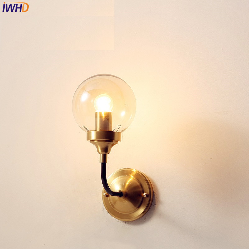 Nordic Glass Ball Wall Lamp Living Room Bedroom Copper LED Wall Light Home Lighting Stair Lights Applique Murale Luminaire modern wall lamp glass ball led wall sconces bedside wall light fixture bedroom luminaria home lighting vintage lamp