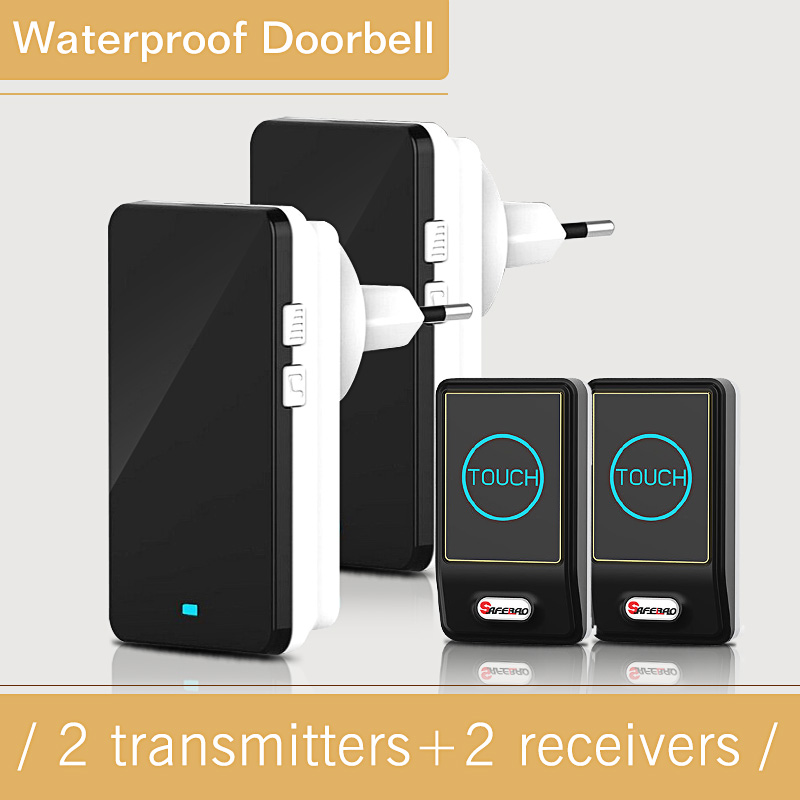 2017 New EU/US Plug-in 2 Outdoor Transmitter + 2 Indoor Receiver Touch Wireless Door Bell With 28 Chimes Waterproof Doorbell 2017 new eu us plug in 2 outdoor transmitter 2 indoor receiver touch wireless door bell with 28 chimes waterproof doorbell