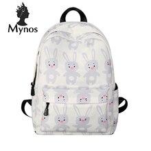Mynos милый мультфильм Для женщин рюкзак большой холст кролик Школы Backbag для девочек-подростков Mochila Escolar Для женщин рюкзак сумка женская