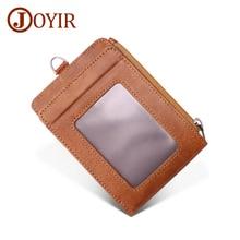 JOYIR 100% Genuine Leather Mini RFID Wallet Male Coin Purse Driver License Holder Men Crzay Horse Credit Card