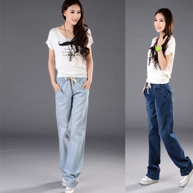 Mujer de primavera más tamaño Mediados loose Encuadre de cuerpo entero pantalones femeninos otoño pantalones anchos de la pierna de gran tamaño pantalones vaqueros de la señora del verano jeans rectos