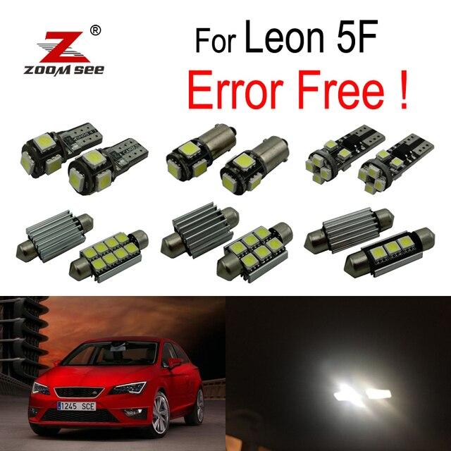 14 pc X 100% Canbus Błąd Bezpłatne LED wnętrz czytanie dome światła żarówki kit dla Seat dla Leon MK3 5F 5F1 5F5 5F8 (2013-2018)