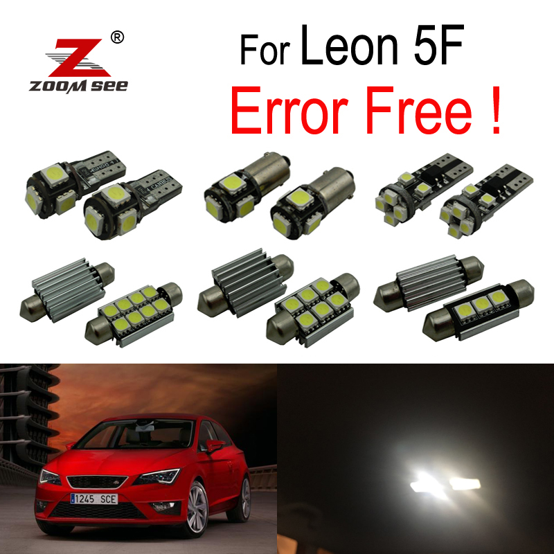 14pc X 100% Canbus Error Free LED Interior Reading Dome Lights Bulb Kit For  Seat For Leon MK3 5F 5F1 5F5 5F8 (2013 2018)