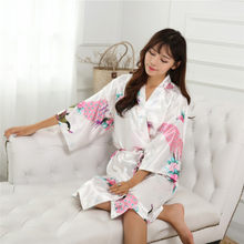 ae198063f7 Top Quality Women Autumn Silk Satin Night Robe Short Wedding Bride Robes  Floral Peacock Kimono Robes Sexy Bathrobe Dressing Gown