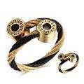 BOGVLI Wire Adjustable Bracelets For Women Stainless Steel Greek Key Pattern Charm Jewelry