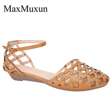 MaxMuxun Womens Roman Ankle Strap Rivet Flat Sandals Summer Cage Closed Toe Gladiator Sandals Hollow Out Mesh Flats Female Shoes blue mesh hollow design flat sandals