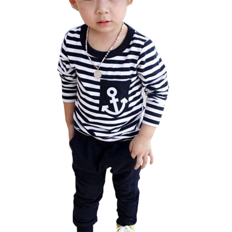 2017 New Spring Kids Clothes Navy Long Sleeve Pullover Striped Sports Suit Casual Boys Clothing Set O 2017 new boys clothing set camouflage 3 9t boy sports suits kids clothes suit cotton boys tracksuit teenage costume long sleeve