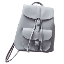 Fashionable Womens Pull-Rope Pu Leather Backpack Belt Decoration Schoolbag Student Shoulder Bag(Light Grey)