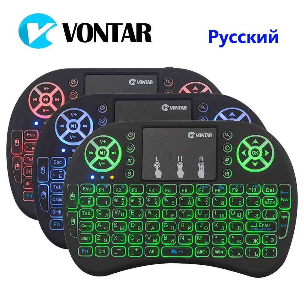 VONTAR i8 Englisch Russische Hintergrundbeleuchtung Mini Drahtlose Tastatur 2,4 GHz air maus Backlit Touchpad Handheld für Android TV BOX