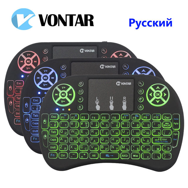 VONTAR i8 English Russian Backlight Mini Wireless Keyboard 2.4GHz air mouse Backlit Touchpad Handheld  for Android TV BOX