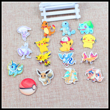Free shipping 10pcs lovely mix Pokemon Accessories Fashion cartoon acrylic Brooch Badge Pin Collar brooch Jewelry Gift,Pet,966-1