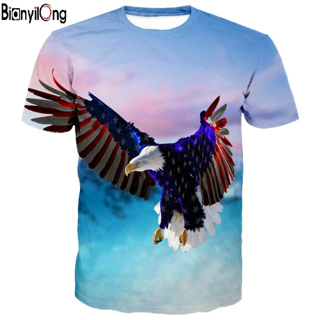 9c61646b8 BIANYILONG 2018 new T-Shirt man fashion American Flag Wings Fly Eagle  Neutral T-shirt Latest Casual Short-sleeved T shirt Tops
