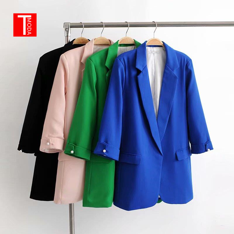 2019 Classic Solid Women Blazer For Office Ladies 3/4 Length Sleeve Female Out-fits Black Coat Feminino Tops Colorful Jackets