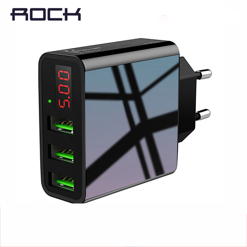 ROCK USB Charger For iphone Charger LED Display 3 USB 5V 3A Fast Charging Wall Charger For iPhone Samsung Xiaomi Max 2.4A Charge Зарядное устройство