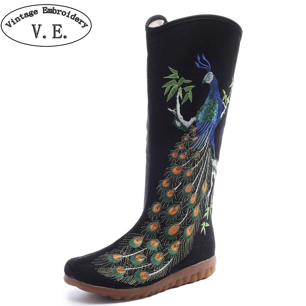 Vintage broderie femmes bottes d'hiver paon brodé toile mi bottes dames grand noir plat chaussons Botas Mujer