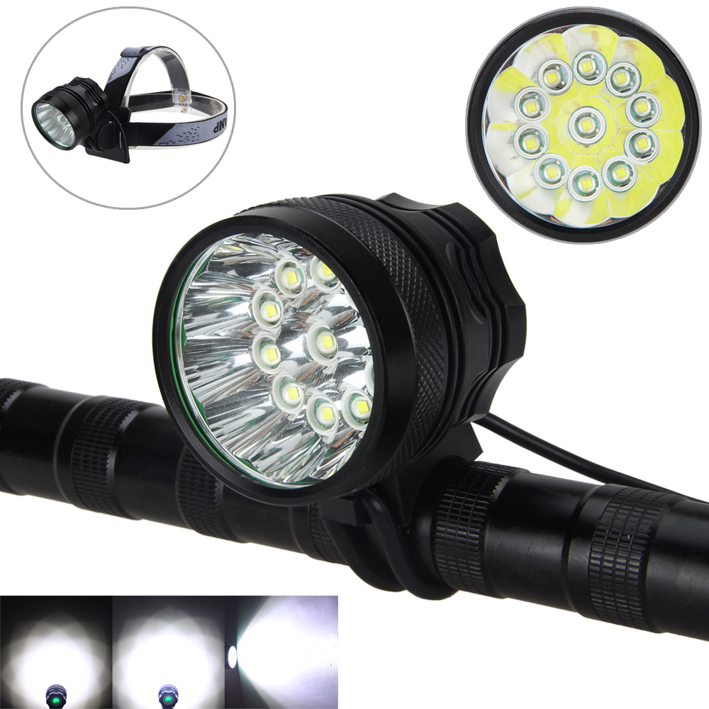 28000Lumen 11X XM-L T6 LED front Bicycle Bike Light Lamps Headlight Rechargeable+8.4v Battery set+Headband 2 in 1 led headlamp 5 x cree xm l t6 5000 lumen headlight strobe flash light front bike light rechargeable 8 4v 6 18650 battery