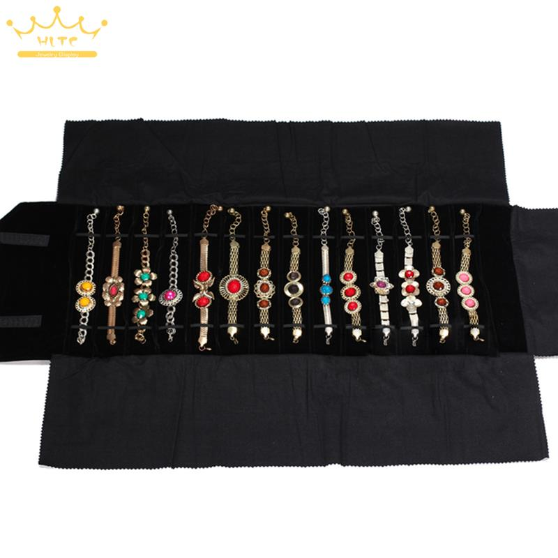 Portable Jewelry Roll Bag Watch Foldable Travel Storage Necklace Pendant Displays Hold Black Velvet 76*30CMPortable Jewelry Roll Bag Watch Foldable Travel Storage Necklace Pendant Displays Hold Black Velvet 76*30CM