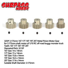 SURPASS HOBBY 5Pcs 32DP 3.175mm 12T 13T 14T 15T 16T 17T 18T 19T 20T Metal Pinion Motor Gear Set for 1/10 RC Car Truck