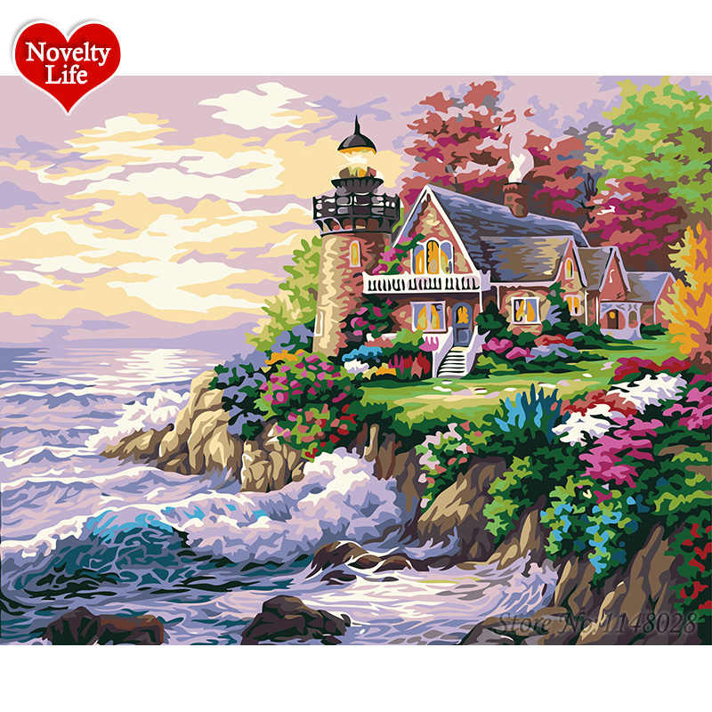 DIY Painting By Numbers Beach House Frame Picture on Wall Digital Canvas Oil Paint For Home Decoration Landscape Fairy Island