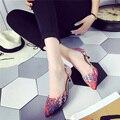 Tejido de Impresión Patchwork En Punta Mujeres Tacones Altos Bombas Degradado Ombre Color de Las Mujeres Zapatos de Tacón Fino Zapatos de Boda Informal Bomba