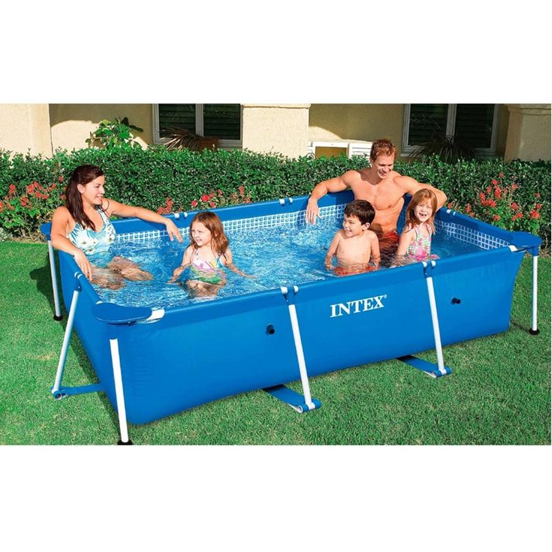 Marco de metal de tubo de acero cuadrado rectangular de natación piscina Pipe Rack estanque grande soporte sobre el terreno de juego del verano piscina