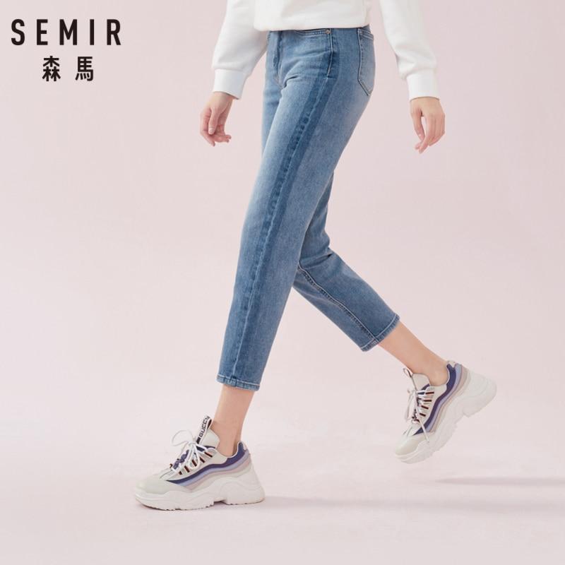 SEMIR Mulheres Mid Rise Cortadas calças Jeans em Suave Mistura de Algodão Tornozelo-comprimento das Mulheres Denim Lavado Jeans Culturas em slim Fit Estilo Retro